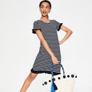 NWT Boden Emily Jersey Dress Navy Striped 10 BA3